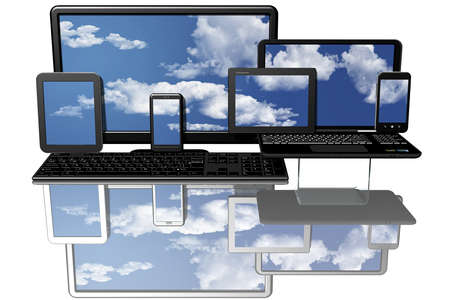 Computing, computer with blue sky in the background and screen.