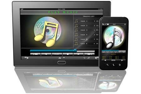 tablet smartphone with application to listen to music Zdjęcie Seryjne