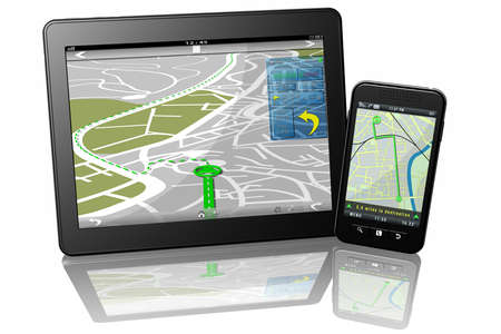 Tablet Smartphone map navigator for travel itineraries.