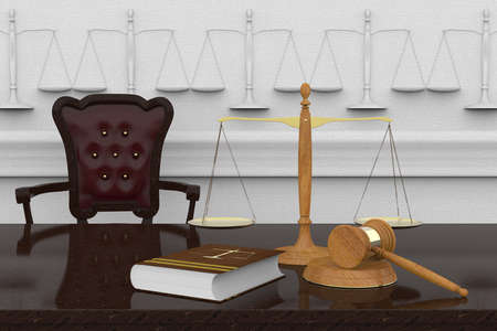 Symbols of law and justice placed on a reflective surface. Zdjęcie Seryjne