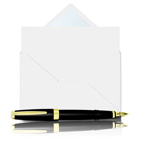 Envelope with letter to symbolize email with fountain pen in the foreground. Zdjęcie Seryjne