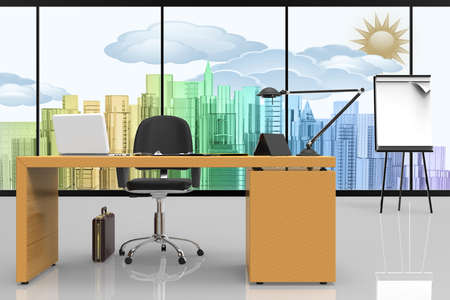 Office interior, with desk and computer. In the background there is a glass window with a view of the city.