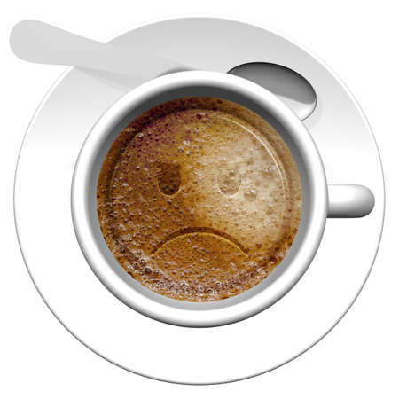 Cup of coffee with drawn emoticon.