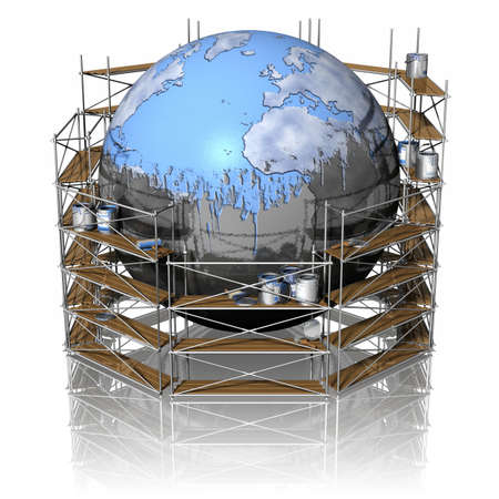 Restructuring and repainting of the globe.