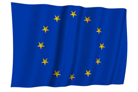 Europe. European union flag. Circle of yellow stars on a blue background.