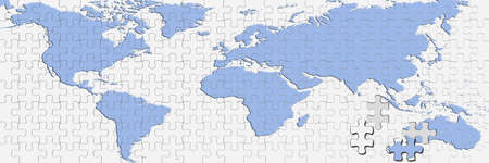 World map puzzle isolated on white background.