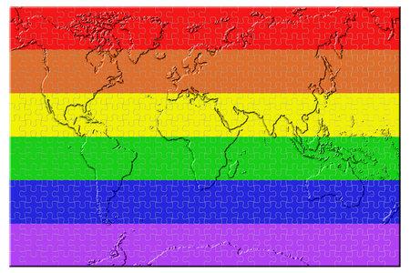 Peace flag, world map puzzle isolated on white background. Zdjęcie Seryjne