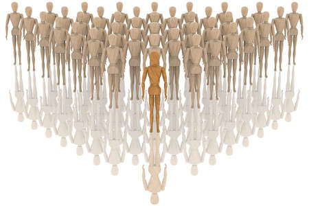Leader. Person in front of everyone else. In the foreground precedes other people.