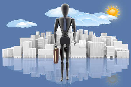 Leader. Manager with the city in the background, the sky with sun and clouds.