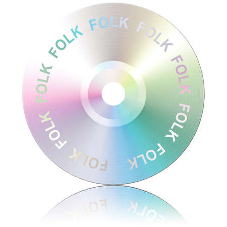 Folk. Musical genres. CD isolated, with reflection, on white background Zdjęcie Seryjne