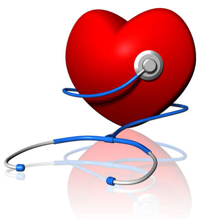 Red heart with stethoscope on white background