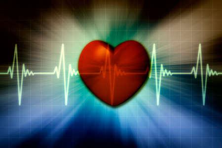 Red heart with background electrocardiogram monitor.