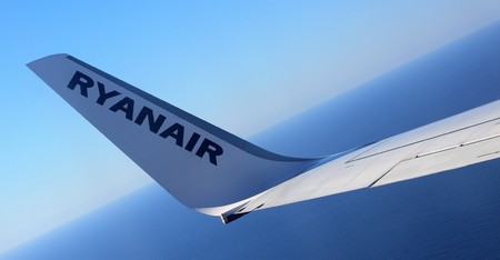 Ryanair low cost airline in flight in Italy