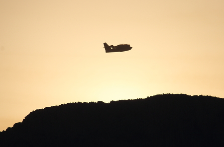 canadair in action at dawn