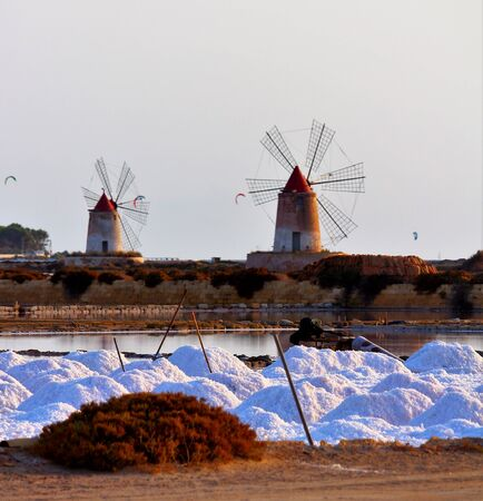 evocative image of the natural reserve of the Stagnone Saline near Marsala and Trapani, Sicily, Italy