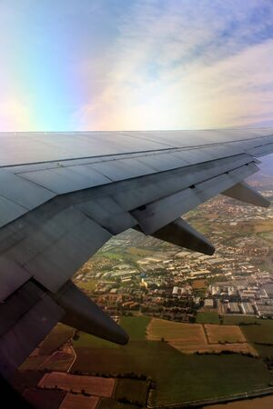 wing flaps moving during flight phase just before landing
