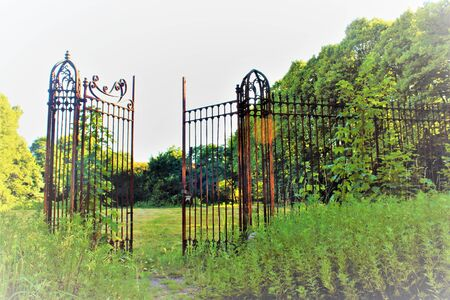 2019.06.16 - Limbiate, Milan, Italy, photographic reportage madhouse in Mombello, abandoned psychiatric hospital portion of a gate and rusty entrance gate towards a green lawn with tree in the background Stok Fotoğraf