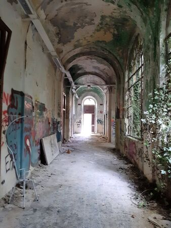 2019.09.28 - Limbiate, Milan, Italy, photo reportage asylum in Mombello, abandoned psychiatric hospital long hospital corridor with rivined ceiling, writings along the wall and the vegetation that enters the broken windows