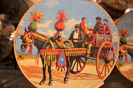 Sicilian cart painted on tambourine