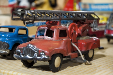 means of transportation: tin toys old pickup truck fire