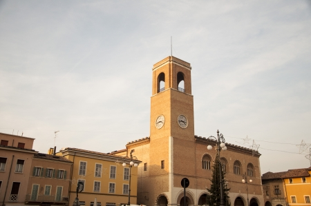 bell tower with clock cities of Italy fano