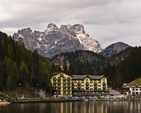 lake misurina: Lake misurina with panoramic Dolomite