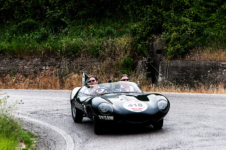 thousand: old car Jaguar D Type one thousand miles in 2015 Editorial