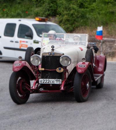 mille: history race car mille miglia 2015 ALFA ROMEO RL Super Sport Torpedo 1925 Editorial