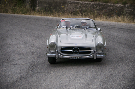 miles: PESARO, ITALY - MAY 15: vintage Mercedes Race car vintage one thousand miles in 2015 on an old racing car in rally Mille Miglia 2015 the famous historical italian race (1927-1957) on May 2015