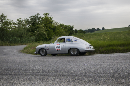 miles: PESARO, ITALY - MAY 15: 1500 PORSCHE 356 Coup� � 1953Race car vintage one thousand miles in 2015 on an old racing car in rally Mille Miglia 2015 the famous historical italian race (1927-1957) on May 2015