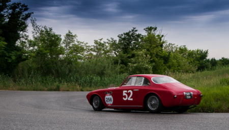 miles: PESARO, ITALY - MAY 15: Ferrari 212 Inter Vignale coupe � 1952 Race car vintage one thousand miles in 2015 on an old racing car in rally Mille Miglia 2015, the famous historical italian race (1927-1957) on May 2015