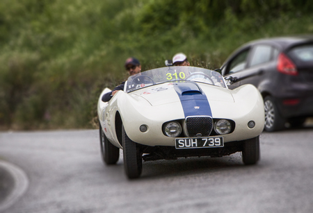 miles: PESARO, ITALY - MAY 15: Arnolt Bristol Bolide 1954 Race car vintage one thousand miles in 2015 on an old racing car in rally Mille Miglia 2015 the famous historical italian race (1927-1957) on May 2015