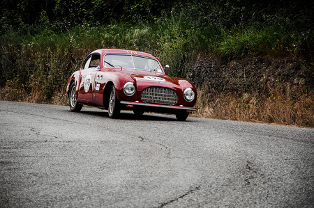 farina: PESARO, ITALY - MAY 15: CISITALIA SC 203 Berlinetta Pinin Farina 1949 Race car vintage one thousand miles in 2015 on an old racing car in rally Mille Miglia 2015 the famous historical italian race (1927-1957) on May 2015