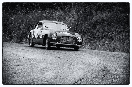 farina: PESARO, ITALY - MAY 15: CISITALIA SC 203 Berlinetta Pinin Farina 1949Race vintage car one thousand miles in 2015 on an old racing car in rally Mille Miglia 2015 the famous historical italian race (1927-1957) on May 2015