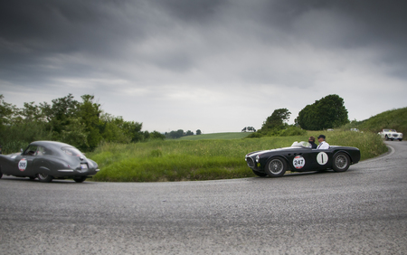 miles: PESARO, ITALY - MAY 15: Ferrari 225 Spider Vignale S 1952 Race car vintage 2015 one thousand miles on an old racing car in rally Mille Miglia 2015, the famous historical italian race (1927-1957) on May 2015