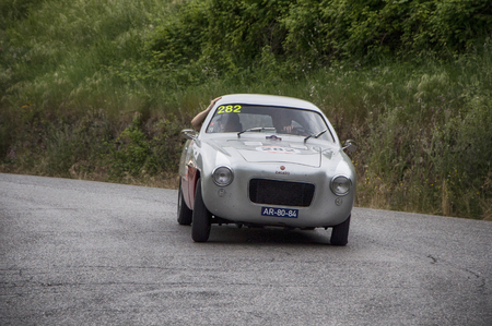 miles: PESARO, ITALY - MAY 15: ZAGATO FIAT 1100103 TV Coup� � 1953 Race car vintage one thousand miles in 2015 on an old racing car in rally Mille Miglia 2015 the famous historical italian race (1927-1957) on May 2015