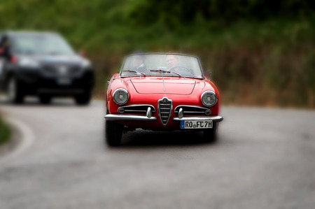miles: PESARO, ITALY - MAY 15: alfaromeo Juliet Race roadster vintage car one thousand miles in 2015 on an old racing car in rally Mille Miglia 2015 the famous historical italian race (1927-1957) on May 2015