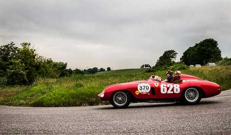mondial: PESARO, ITALY - MAY 15: Ferrari 500 Mondial Scaglietti Spider 1955 Race car vintage one thousand miles in 2015 on an old racing car in rally Mille Miglia 2015 the famous historical italian race (1927-1957) on May 2015