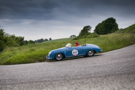 speedster: PESARO, ITALY - MAY 15: 1500 PORSCHE 356 Speedster 1955 on an old racing car in rally Mille Miglia 2015 the famous historical italian race (1927-1957) on May 2015