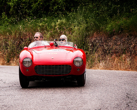 mondial: PESARO, ITALY - MAY 15: Ferrari 500 Mondial Spider Pinin Farina 1954 old racing car in rally Mille Miglia 2015 the famous historical italian race (1927-1957) on May 2015