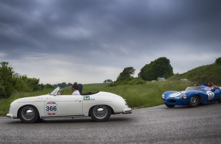 miles: ITALY THOUSAND MILES 2015 PESARO, ITALY - MAY 15: Thousands of Miles 2015 porsche old racing car in rally Mille Miglia 2015 the famous historical italian race (1927-1957) on May 2015 Editorial