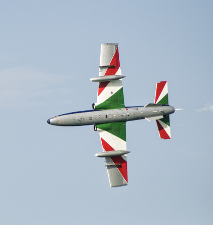 Pesaro Italy - 31 July 2016: The Italian demonstration team Frecce Tricolori air show 報道画像
