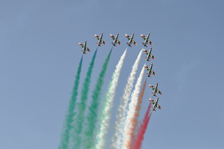 Pesaro Italy - 31 July 2016: The Italian demonstration team Frecce Tricolori air show Editorial