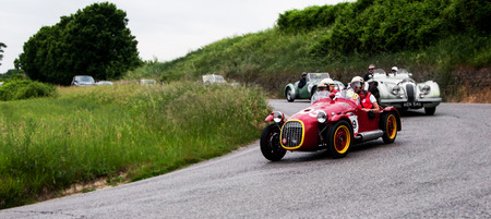 PESARO, ITALY - MAY 15: BENEDETTI Giannini 750 S 1950 old racing car in rally Mille Miglia 2015 the famous historical italian race (1927-1957) on 15 May 2015 Editorial