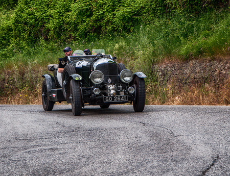 PESARO, ITALY - MAY 15: BENTLEY 4.5 Litre Supercharged 1930 old racing car in rally Mille Miglia 2015 the famous historical italian race (1927-1957) on 15 May 2015 Editorial