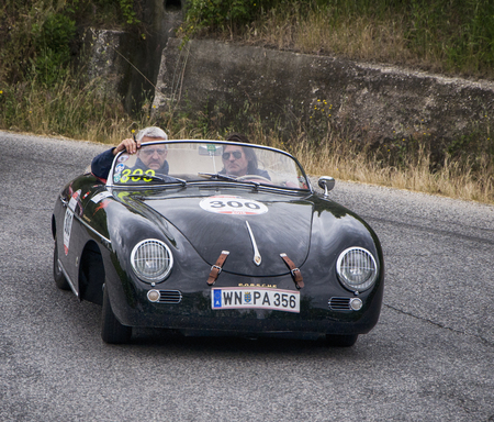speedster: PESARO, ITALY - MAY 15: 1500 PORSCHE 356 Speedster 1954 old racing car in rally Mille Miglia 2015 the famous historical italian race (1927-1957) on May 2015