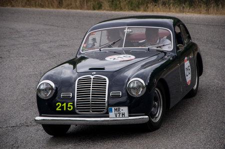 farina: PESARO, ITALY - MAY 15: Maserati A6 1500 Pinin Farina Berlinetta 1950 old racing car in rally Mille Miglia 2015 the famous historical italian race (1927-1957) on May 2015