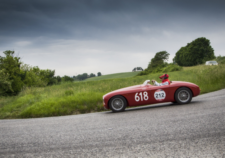 PESARO, ITALY - MAY 15: GILCO Fiat Barchetta 1100 1950 Fountain old racing car in rally Mille Miglia 2015 the famous historical italian race (1927-1957) on May 2015