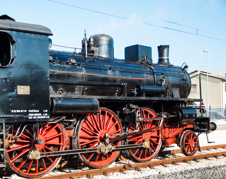 Fano, Marche, Italy - February 19, 2017: Vintage Steam Locomotive at the station in fano italy Editorial