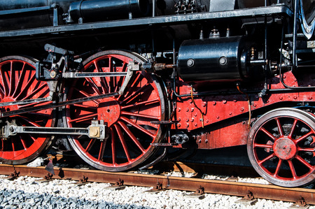 oily: Fano, Marche, Italy - February 19, 2017: Vintage Steam Locomotive at the station in fano italy Editorial